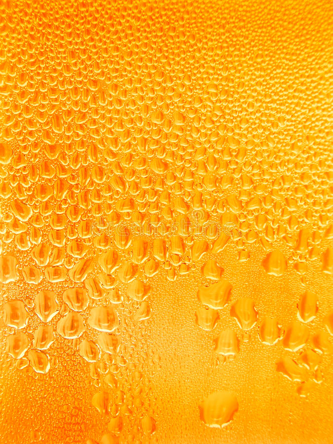 Beer. Condensed water droplets on glass stock image