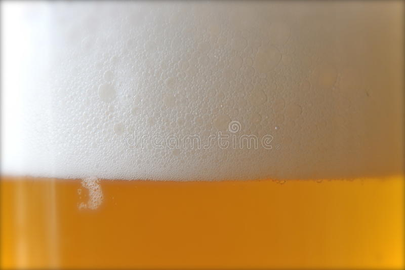 Foamy Beer. Closeup of cold, foamy beer royalty free stock images