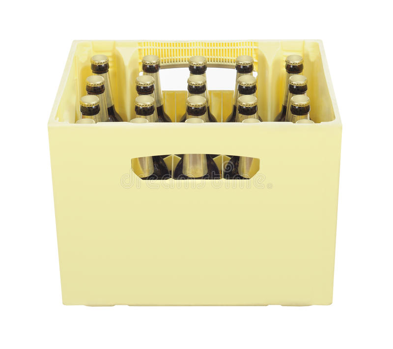 Beer. Case full of  bottles royalty free stock photography