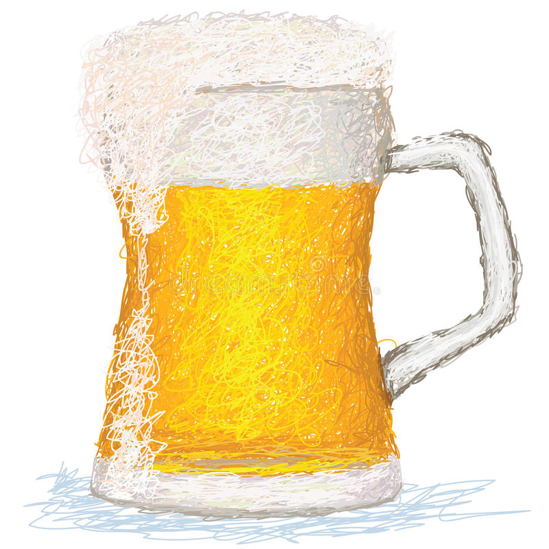 Beer. Closeup illustration of a glass of cold beer stock illustration