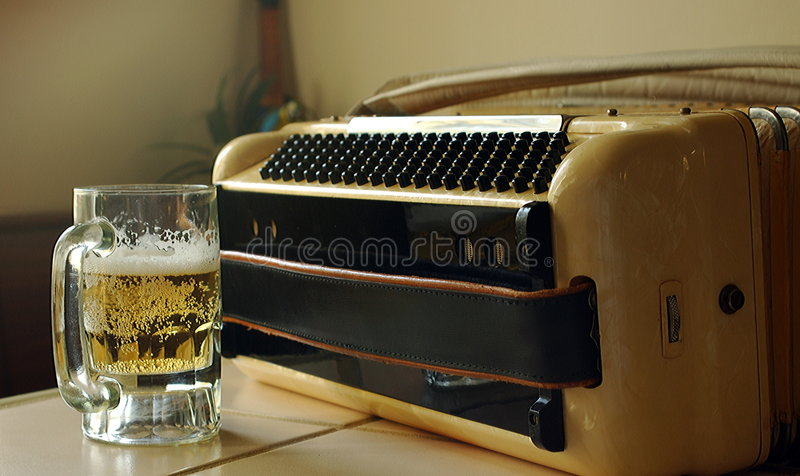 Beer and Accordion stock photo