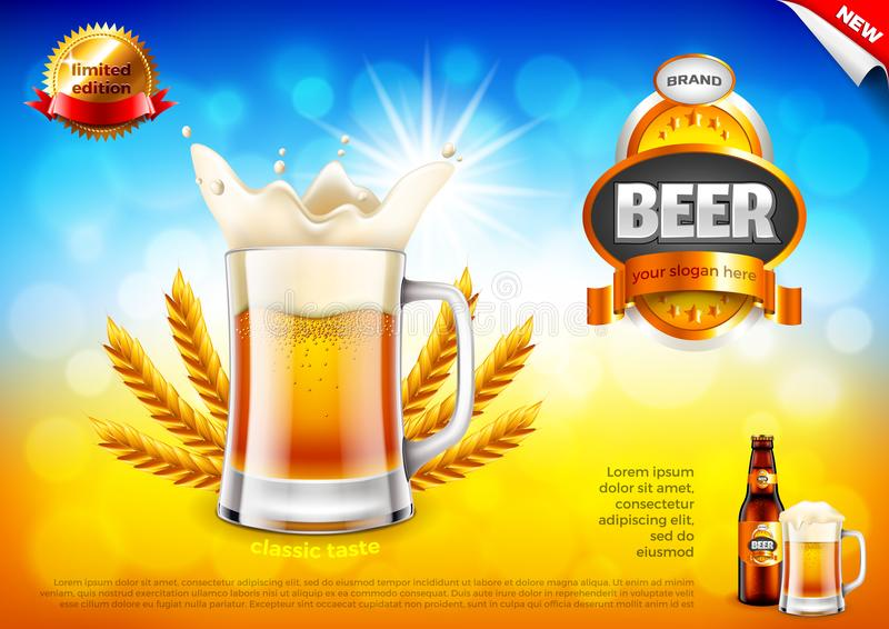 Beer ads. Frothy mug and wheats on field bokeh vector background stock illustration