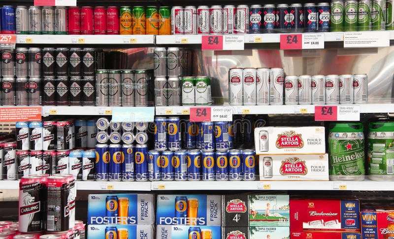 Beer and alcohol. Beer cans and alcohol for sale in supermarket