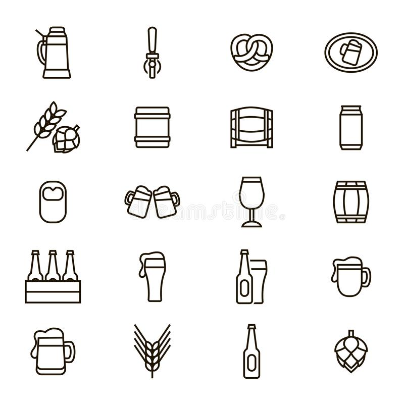 Beer Alcohol Drink Thin Line Icon Set. Vector stock illustration