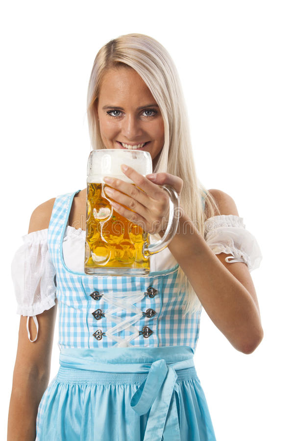 Beer. Attractive bavarian woman with a beer stock photo