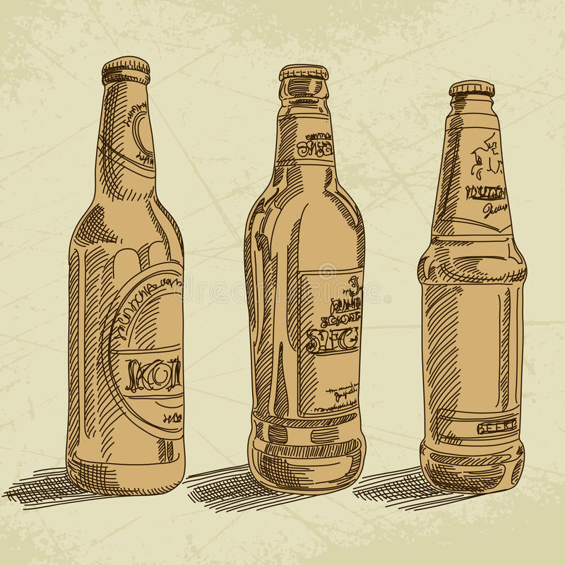 Beer background. Collection of beer in different bottles, this illustration may be useful as designer work vector illustration