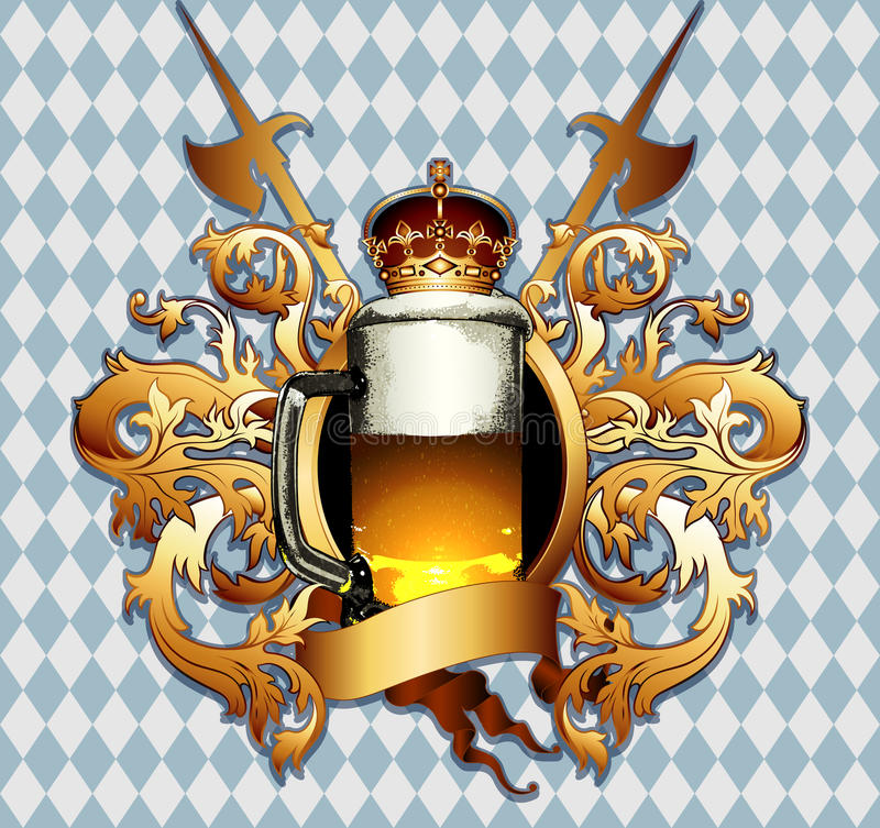 Beer background. Mug of beer against the colors Bavarian flag in retro style, this illustration may be useful as drsigner work vector illustration