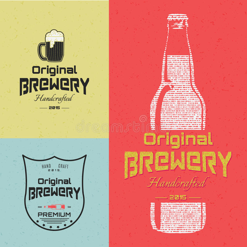 Beer badges logos and labels for any use. Logo templates and design elements for beer house, bar, pub, brewing company, brewery, tavern, restaurant vector illustration