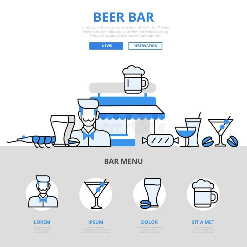 Beer bar pub drink snack concept flat line art vector icons. Beer bar pub drink cocktail snack restaurant concept flat line art vector icons. Modern website royalty free illustration