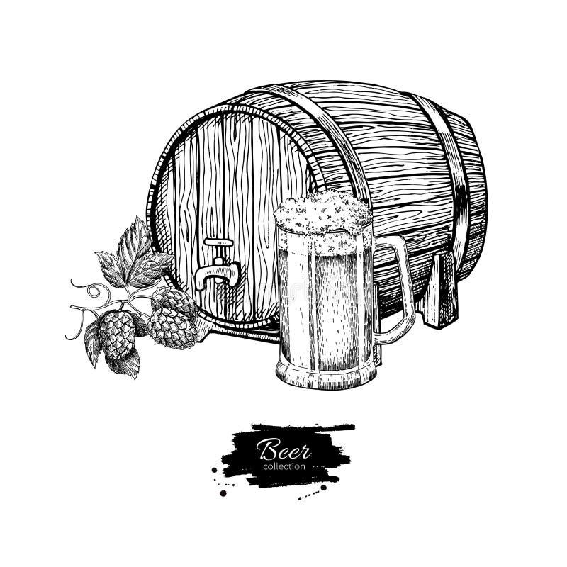 Beer barrel with hop and glass mug. Sketch style illustra royalty free illustration