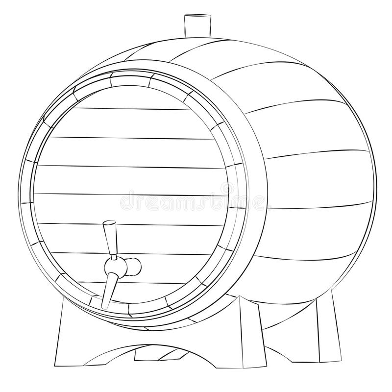 Beer barrel silhouette. Isolated on white background stock illustration