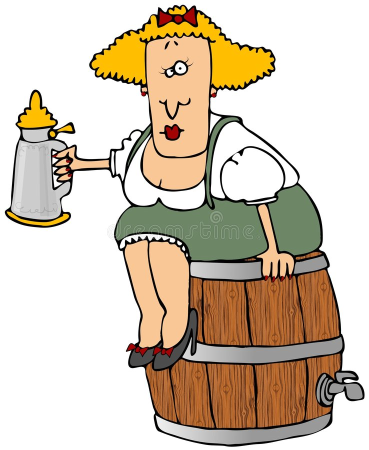 Beer Barrel Woman. This illustration depicts a Bavarian woman sitting on a beer keg and holding a stein stock illustration