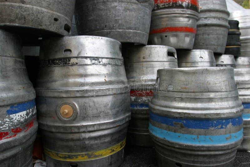 Beer Barrels kegs. Beer kegs stacked, suitable for background royalty free stock photos
