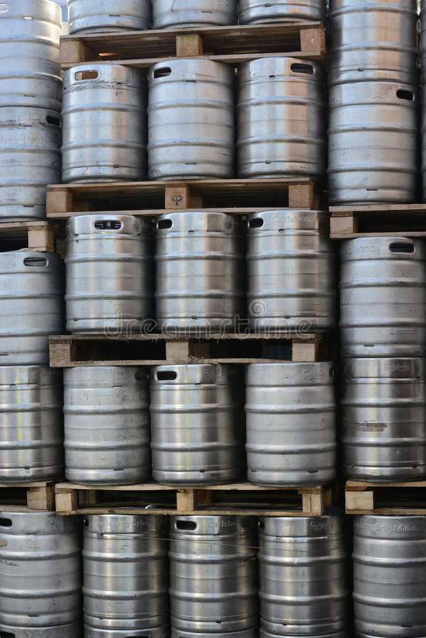 Beer Barrels kegs. Beer kegs stacked, suitable for background royalty free stock photography