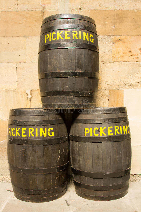 Beer Barrels Labelled 'Pickering' royalty free stock photo