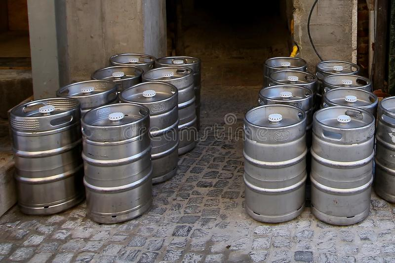 Beer barrels on street royalty free stock image