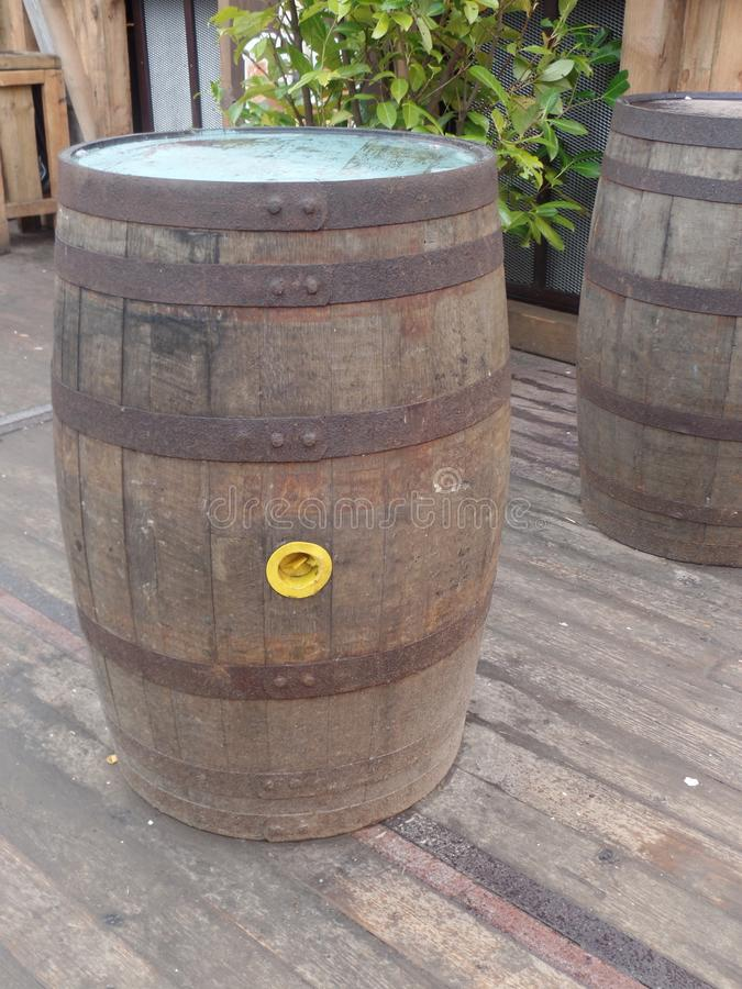 Beer barrels on a wooden platform. At a Bavarian beer festival stock photo