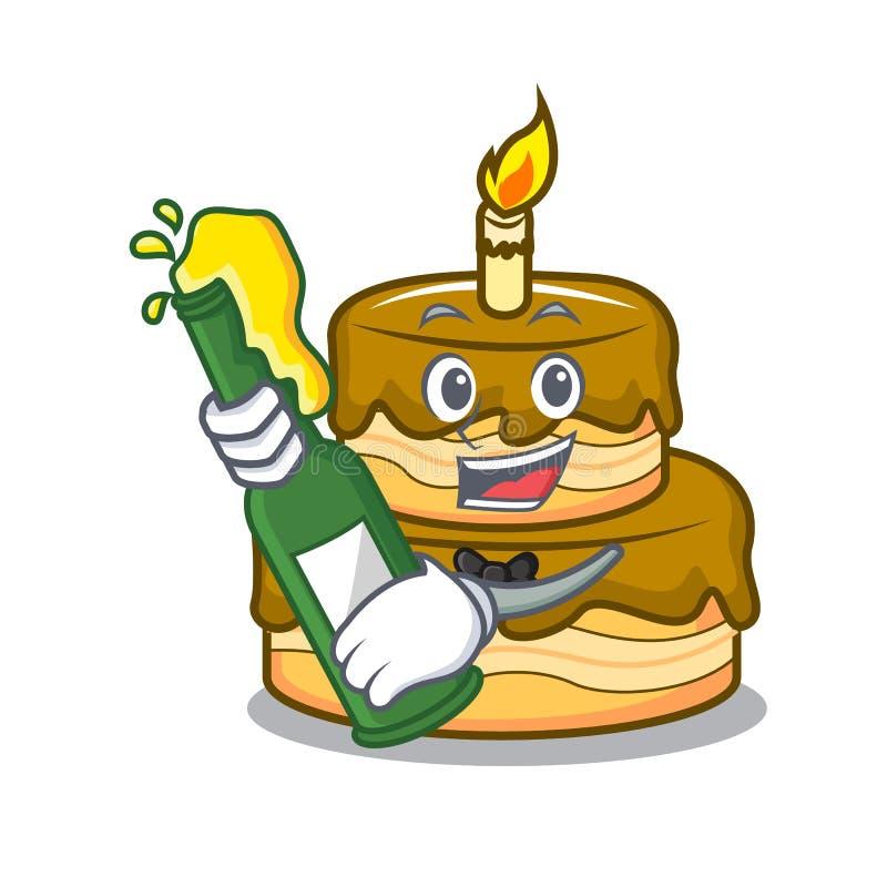 Strange With Beer Birthday Cake Mascot Cartoon Stock Vector Illustration Funny Birthday Cards Online Overcheapnameinfo