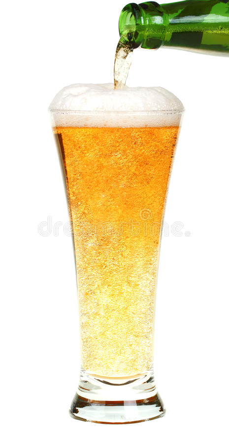 Beer with bottle. Isolated on white background stock photography