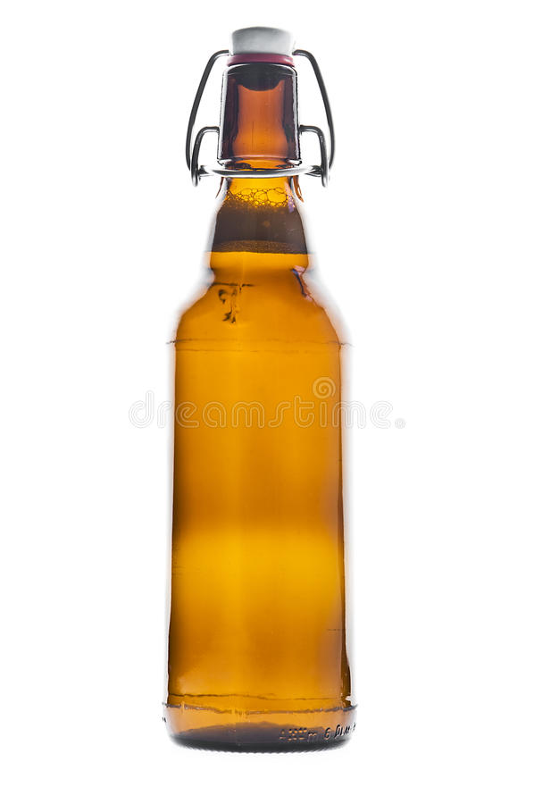 Beer bottle. On white background stock image