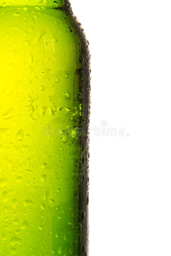 Beer bottle. Detail of bottle of beer, isolated on white background royalty free stock image