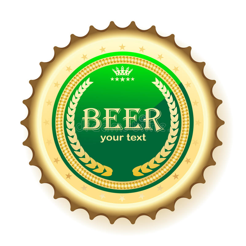 Beer, bottle cap royalty free illustration