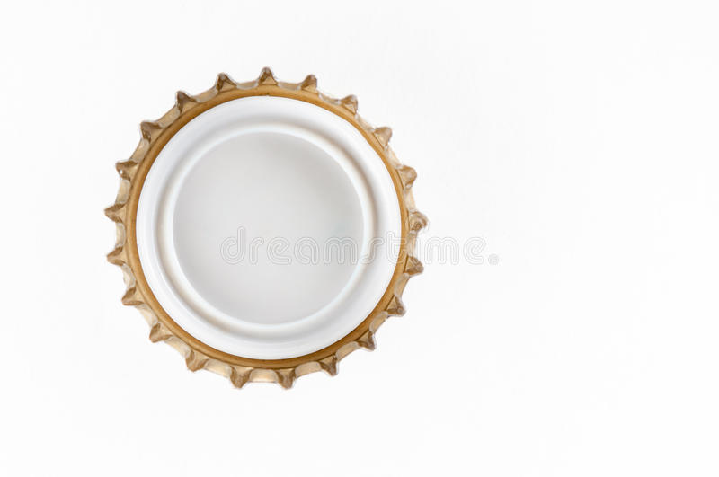 Beer bottle cap closeup. On white background stock images