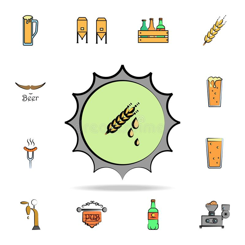 Beer bottle cap colored sketch style icon. Detailed set of color beer in hand drawn style icons. Premium graphic design. One of. The collection icons for stock illustration