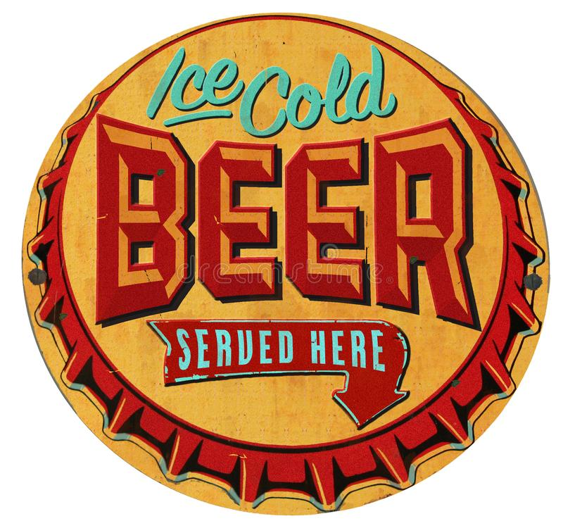 Beer Bottle Cap Tin Sign Iced Cold vector illustration