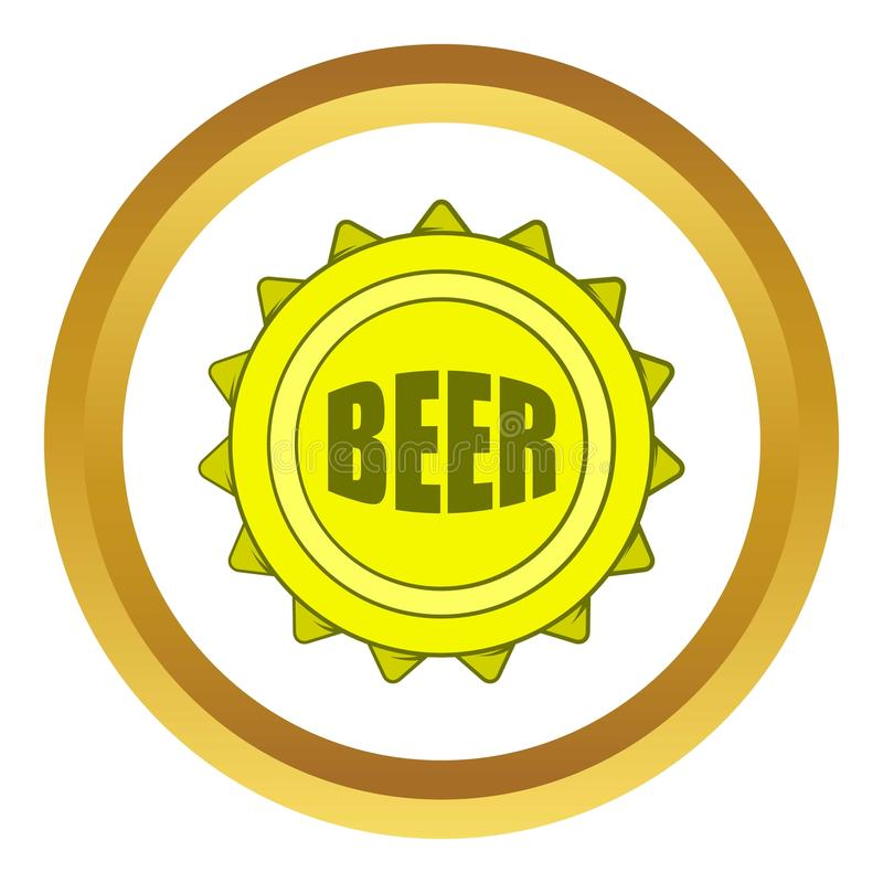 beer bottle cap vector icon, cartoon style stock vector - image