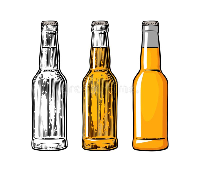 Beer Bottle Drawing In Three Graphic Styles Color Vintage Engraving And Flat Illustration On White Background For Web Poster Invitation To Party