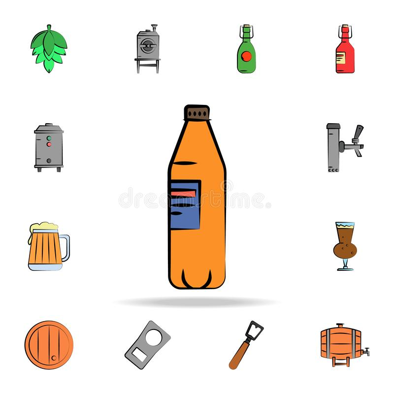 Beer bottle colored sketch style icon. Detailed set of color beer in hand drawn style icons. Premium graphic design. One of the. Collection icons for websites royalty free illustration