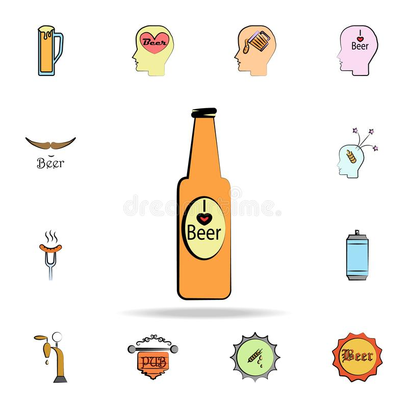 Beer bottle colored sketch style icon. Detailed set of color beer in hand drawn style icons. Premium graphic design. One of the. Collection icons for websites vector illustration