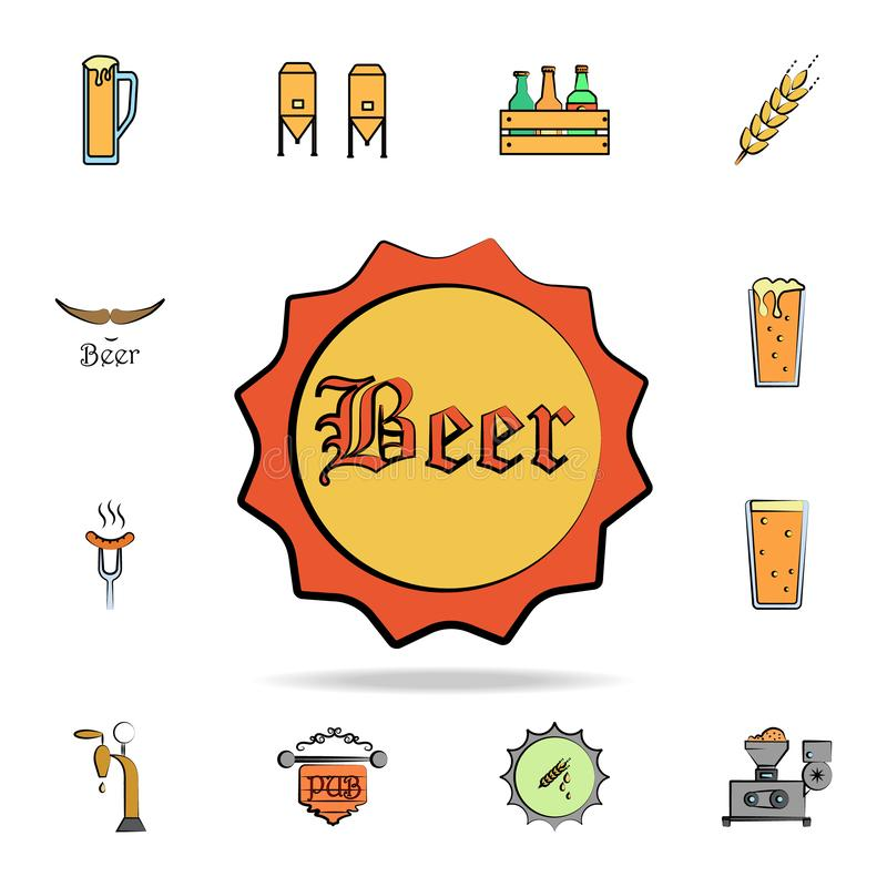 Beer bottle cover colored sketch style icon. Detailed set of color beer in hand drawn style icons. Premium graphic design. One of. The collection icons for royalty free illustration