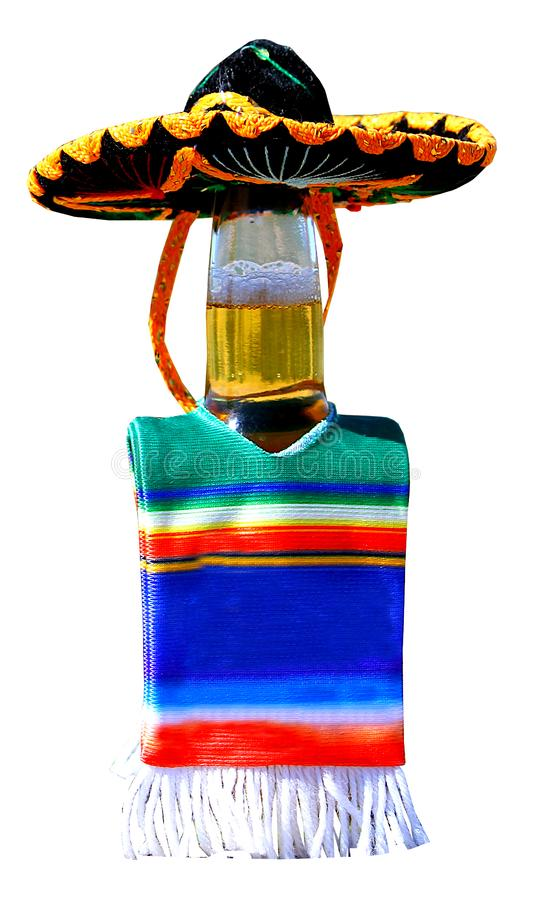 Beer bottle dressed up to celebrate Cinco de Mayo. royalty free stock images