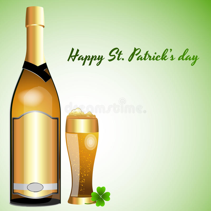 Download Beer Bottle With Glass Of Beer Stock Illustration - Image: 23975935