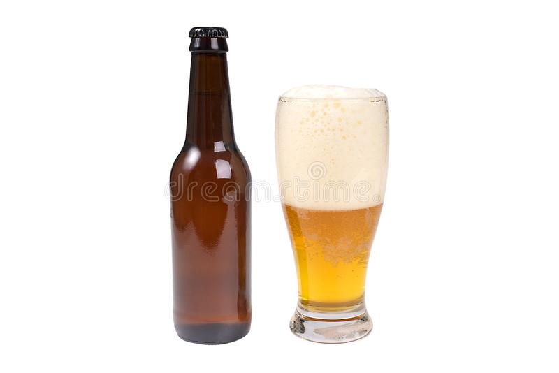 Beer Bottle & Glass Of Beer stock photos