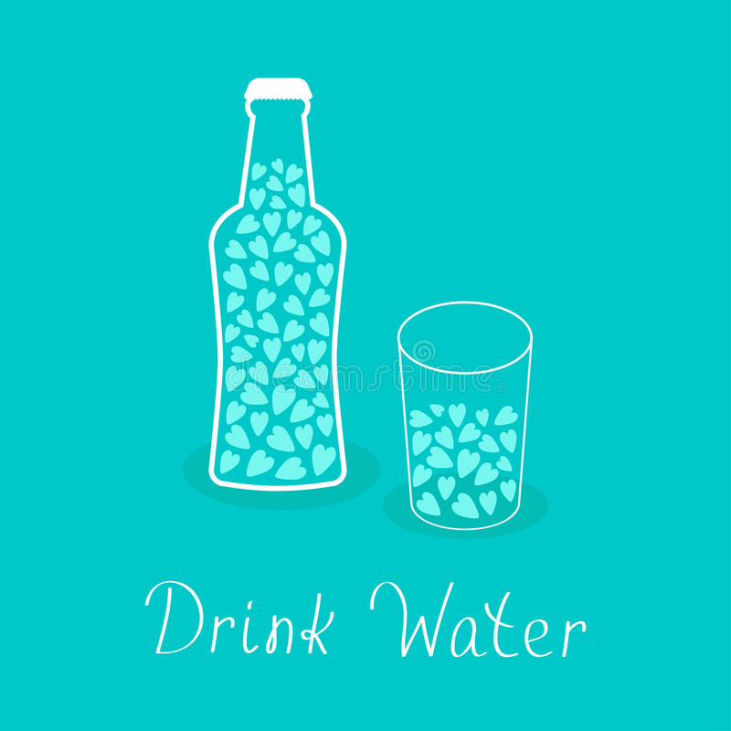 Beer bottle and glass with hearts inside. Drink water. Healthy lifestyle concept. Contour lined icon. Love card. Flat design. Vector illustration stock illustration
