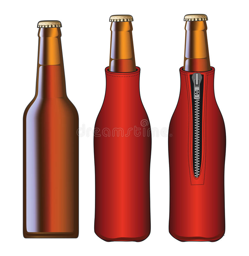 Beer Bottle With Koozie. Illustration of a beer bottle and a beer bottle with koozie or cooler from front and back views vector illustration