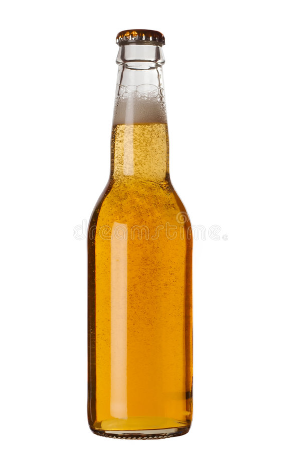 Beer bottle with liquid royalty free stock photos
