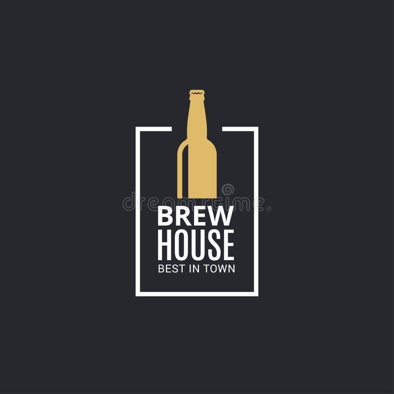 Beer bottle logo. Brew house icon on black. Background 8 eps stock illustration