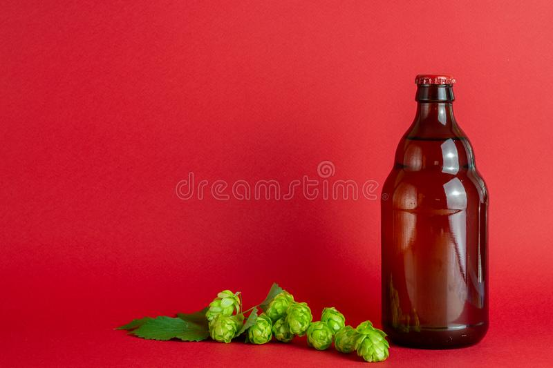 Beer bottle with a red cork on a red background. Design. Minimalism. Creative idea. Mock-up. Drink, lager, glass, beverage, brown, ale, clean, blank stock photography