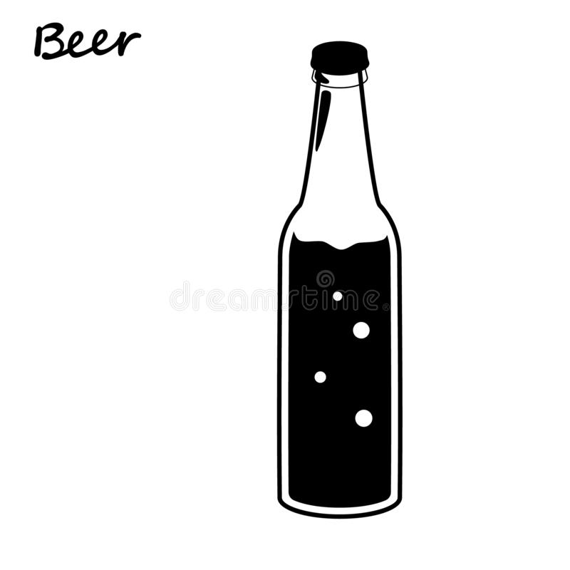 Beer bottle, retro line drawing glass silhouettes, old fashioned vintage hand drawing on white background. Vector illustration royalty free illustration