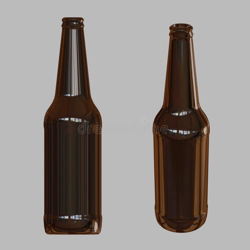 Beer Bottle Template. 3D Render. Stock Illustration - Illustration ...