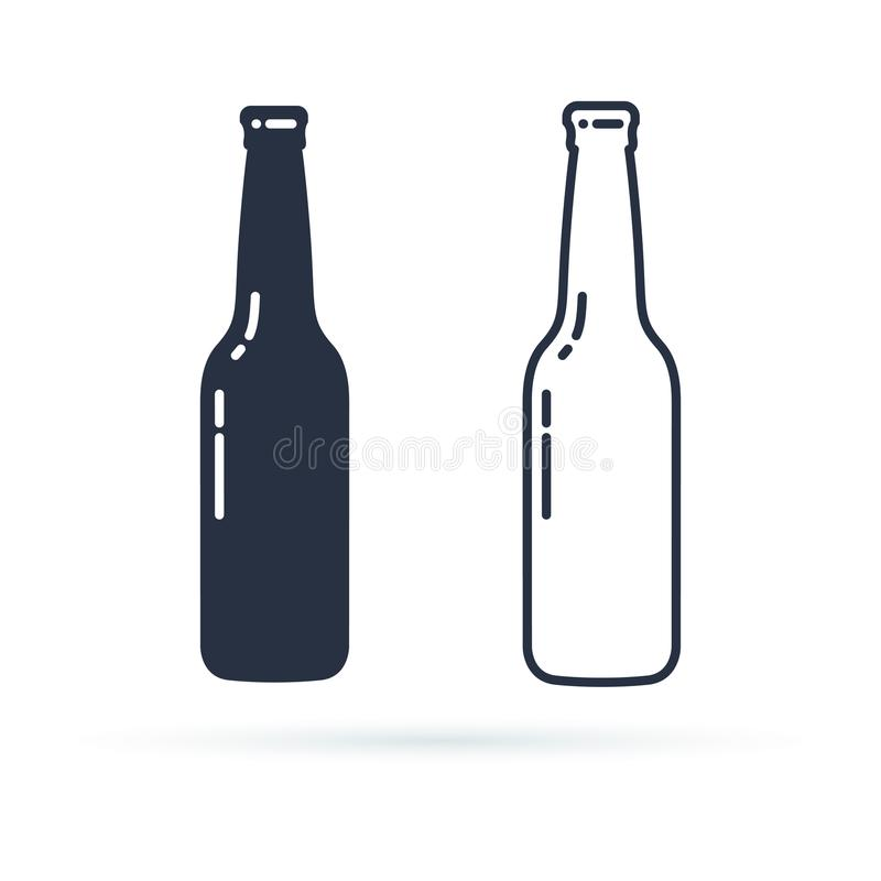 Free Beer Bottle Vector Icon. Alcohol Drink Filled And Line Icons Set On A White Background. Royalty Free Stock Photo - 107524955