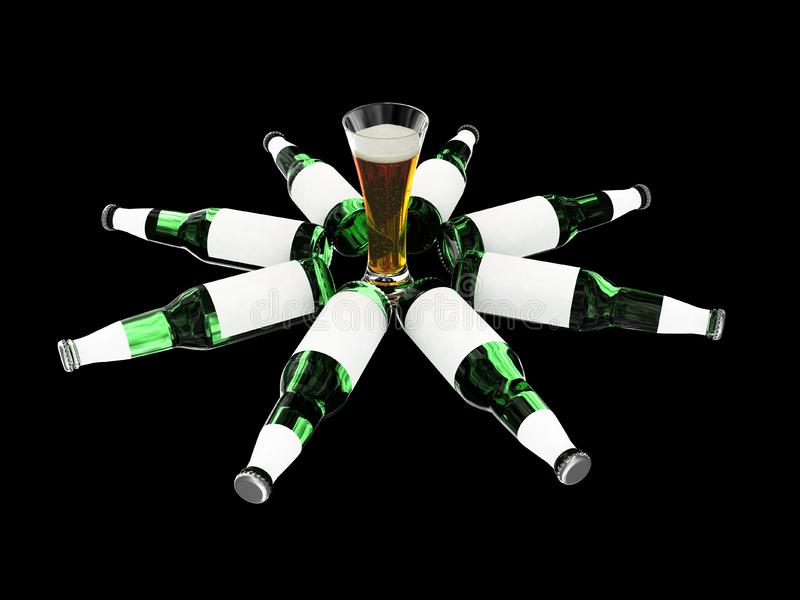 Download Beer Bottles With Blank Labels And Beer In Glass Stock Illustration - Image: 6690541