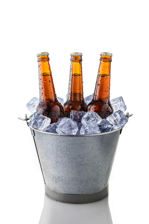 Beer Bottles In A Bucket Of Ice Stock Image - Image of ...