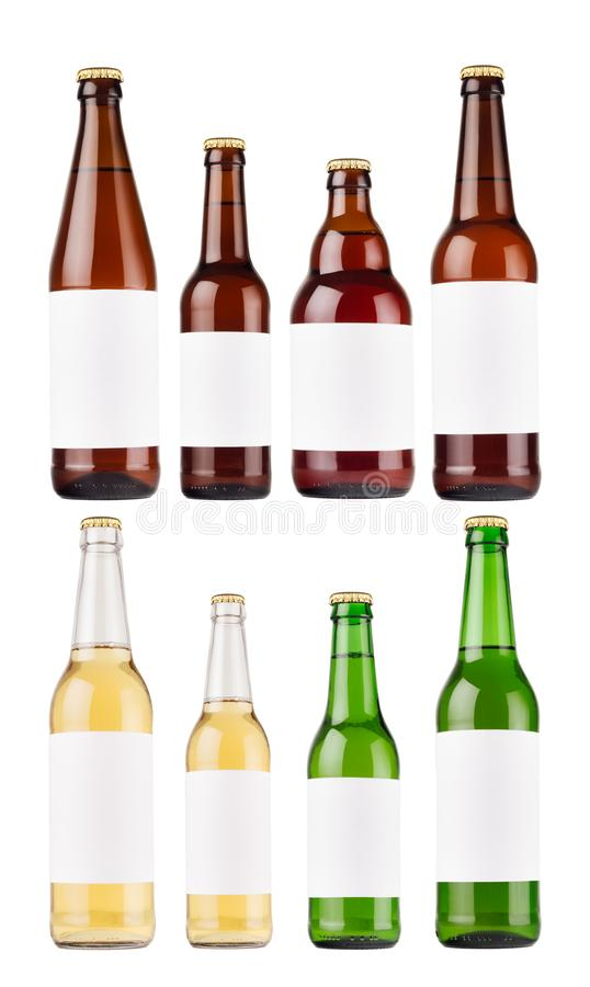 Beer bottles collection different type and colors with blank white label, isolated, mock up. stock images