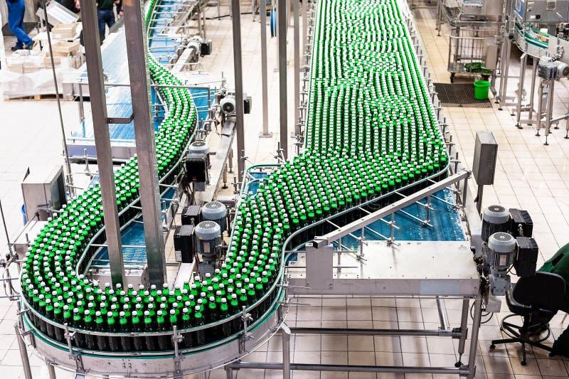 Beer bottles on the conveyor belt stock photo