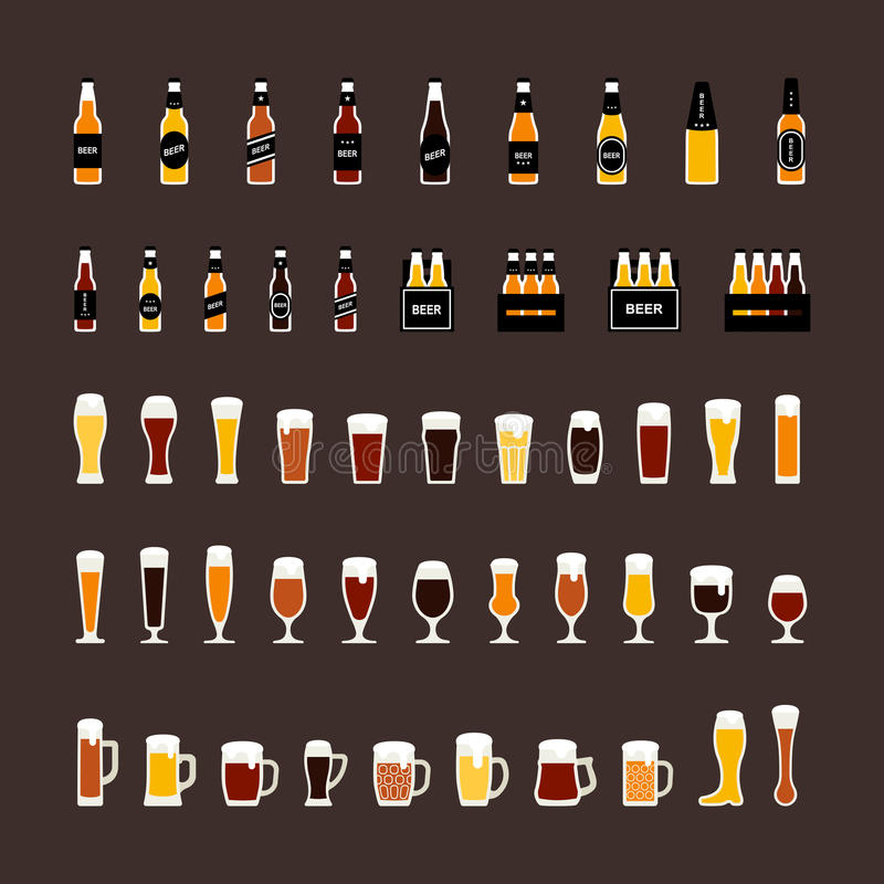 Beer bottles and glasses colored icons set in flat style. Vector stock illustration